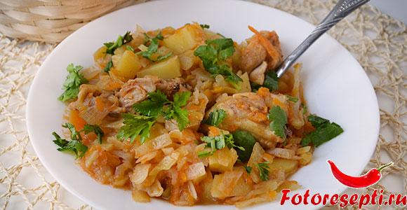капуста с курицей и картофелем