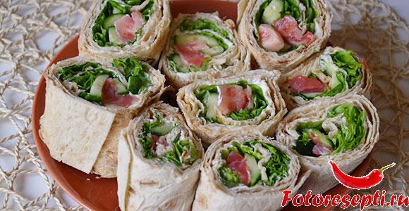 Салат в лаваше рецепт с морепродуктами