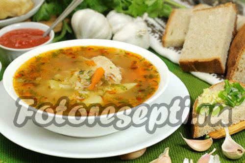 Суп харчо с курицей, картошкой и рисом