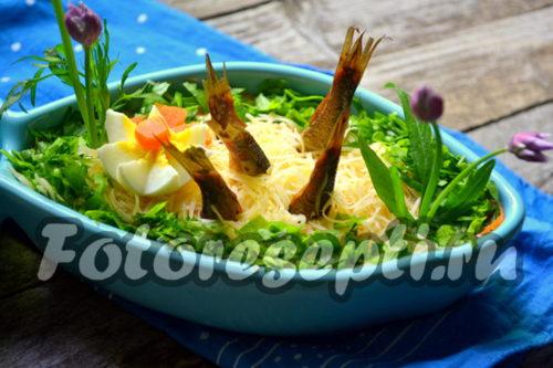 рецепт салата Рыбки в пруду