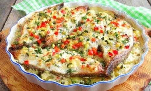 Палтус с картошкой в духовке