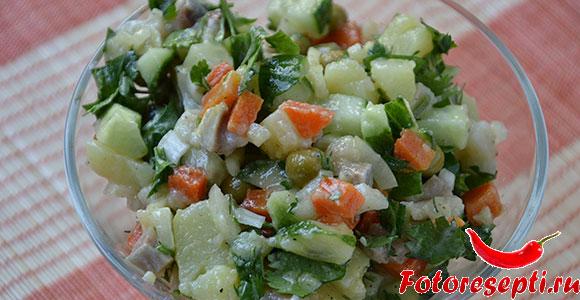 салат из селедки с огурцом и горошком
