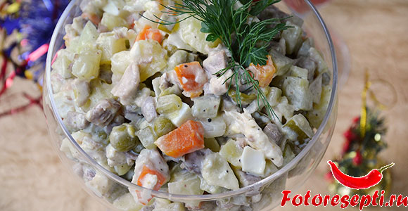 оливье праздничный с языком