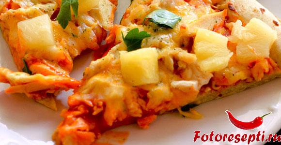 пицца с курицей и ананасами, фото