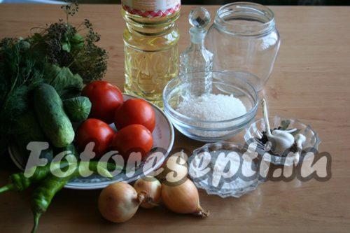 ингредиенты для ассорти из помидоров