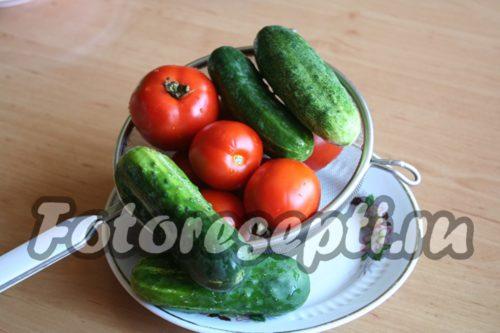 подготовить помидоры и огурцы