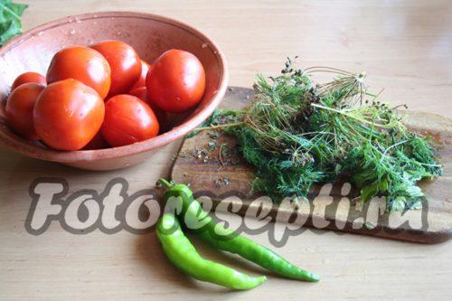 Подготовить зелень и перец