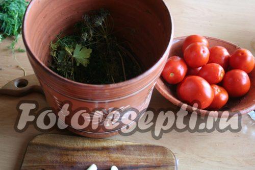 сделать закладку зелени и помидоров для засолки