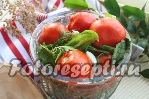 Готовые маринованные помидоры