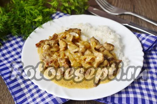 Бефстроганов из свинины с подливкой, рецепт с фото пошагово