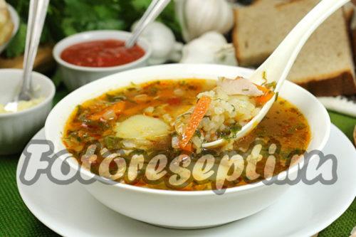 Суп харчо с курицей, картошкой и рисом рецепт