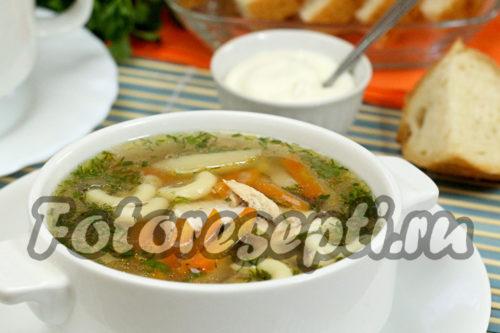 Куриный суп с пастой и грибами рецепт