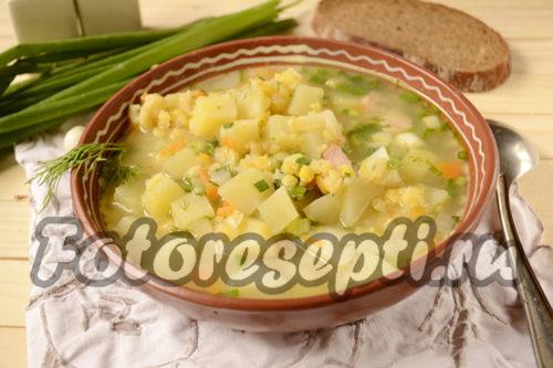Гороховый суп с копченой курицей, рецепт с фото