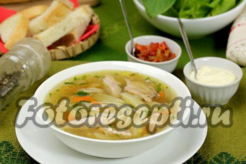 Суп с курицей, вермишелью и картошкой