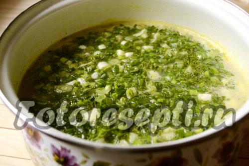 в гороховый суп добавить зелень