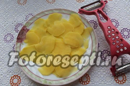 тонко нарезать картофель
