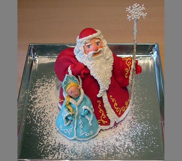 Торт с Дедом Морозом, Снегурочкой и Щелкунчиком
