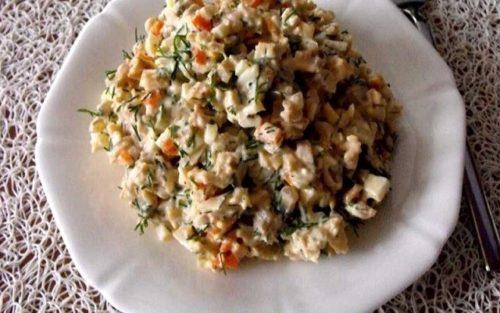 Салат с консервированными шампиньонами и куриным мясом