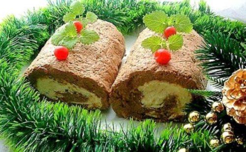 Печеночно-сырный рулет «Накануне Рождества»